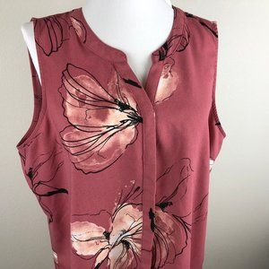 Apt. 9 Sleeveless Blouse Size L Dusty Pink